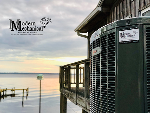 outdoor hvac unit with logo